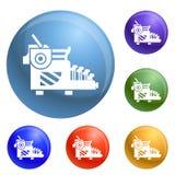 Typewriter icons set vector royalty free illustration