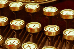 Typewriter keyboard. Keys of an old typewriter. symbolic photo for communication in former times Stock Photos