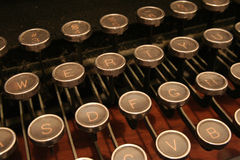 Typewriter keys. A classic veiw of an old typewriters' keys Stock Photography