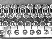 Typewriter keys. A close up view of the keyboard of a vintage manual typewriter with its letters and numbers royalty free stock photo