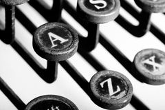 Typewriter keys. Vintage typewriter keys -- film grain look Royalty Free Stock Photography