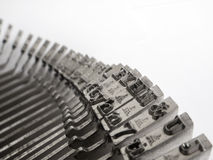 Typewriter keys. Letters and numbers of old typewriter keys Royalty Free Stock Photos