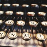 Typewriter keys. The keys of a typewriter close up. Old Stock Photography