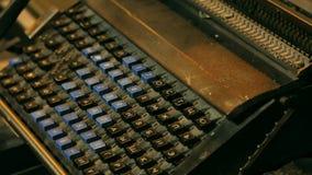 Typewriter keys. Keys on an antique typewriter. Panoramic shot of Typewriter keys. Keys on an antique typewriter stock footage