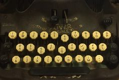 Typewriter keys. A photo of keys of an antique typewriter stock photos
