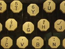 Typewriter keys. An up close phot of vintage typewriter keys royalty free stock image