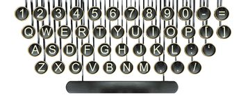 Typewriter keys, vintage keyboard isolated white Royalty Free Stock Photography