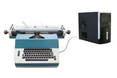 Typewriter and a laptop Stock Photo