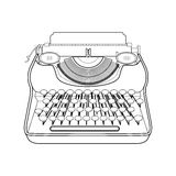 Typewriter line isolated on white background. Vector illustratio Stock Images