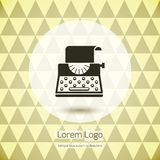 Typewriter logo icon. For company or firm. Keyboard and sheet of paper and print. Vector illustration Stock Images