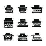Typewriter machine keys icons set, simple style. Typewriter machine keys old keyboard icons set. Simple illustration of 9 typewriter machine keys old keyboard Stock Image