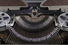 Typewriter. The machinery of an old typewriter, close-up royalty free stock photos