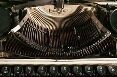 The typewriter mechanism. Keys and the internal mechanism of a typewriter Royalty Free Stock Image