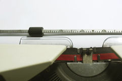 Typewriter message. A close up of typewriter, focus on paper where message will be typed stock images