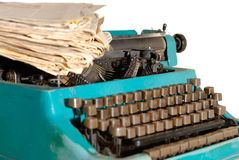 Typewriter And Newspapers Stock Photos