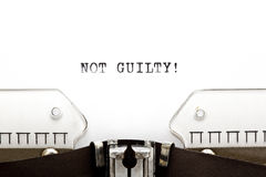 Typewriter NOT GUILTY Royalty Free Stock Image