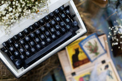 Typewriter. Old fashioned, vintage typewriter with flowers Royalty Free Stock Image