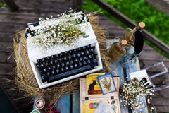 Typewriter. Old fashioned, vintage typewriter with flowers Stock Images