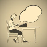 Typewriter. Old-fashioned young woman sitting on a chair and typing on a typewriter retro style  illustration with empty text cloud Royalty Free Stock Images