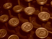 Typewriter - old vintage. Part of the keyboard of an old typewriter Stock Photography