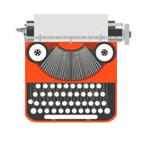 Typewriter old, vintage vector writer illustration. Retro type. Paper isolated. Letter machine design icon. Antique Royalty Free Stock Images