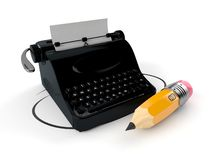 Typewriter with pencil royalty free illustration