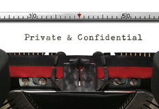 Typewriter Private and Confidential royalty free stock photo