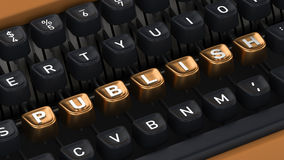 Typewriter with PUBLISH buttons royalty free stock photos