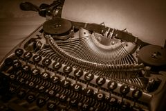 Typewriter ready for use with blank paper installed Stock Photography