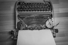 Typewriter ready for use with blank paper installed Stock Image
