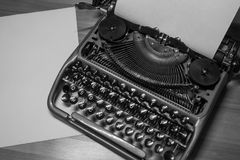 Typewriter ready for use with blank paper installed Royalty Free Stock Photography