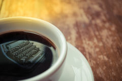 Typewriter reflection on coffee Stock Photos