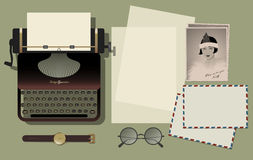 Typewriter retro and vintage photo. Letters, glasses, envelopes Royalty Free Stock Image