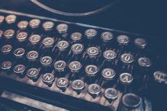 Typewriter. Selective focus of old typewriter, retro picture style Royalty Free Stock Image