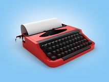 Typewriter with sheet of paper on blue gradient background 3d royalty free illustration