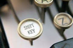 Typewriter shift key. Macro of shift key of antique typewriter keyboard Stock Photos