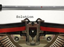 Typewriter with Solution Word Royalty Free Stock Images
