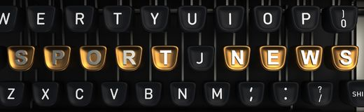 Typewriter with SPORT NEWS letters on buttons. 3D rendering Stock Photo
