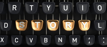 Typewriter with STORY buttons Royalty Free Stock Images