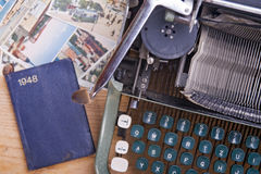 Typewriter on the table. Old typewriter on the table stock image