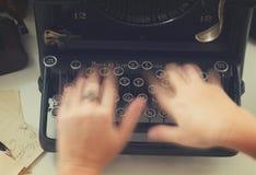 Typewriter on table Stock Photo