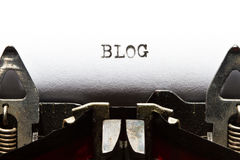 Typewriter with text blog. Old typewriter with text blog stock photo