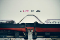 Typewriter and text I love my mom Royalty Free Stock Photography