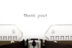Typewriter Thank You. Thank You printed on an old typewriter as a headline of a letter royalty free stock photography