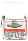 Typewriter two tone cream orange with paper Royalty Free Stock Photography