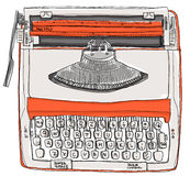 Typewriter two tone cream orange Stock Image