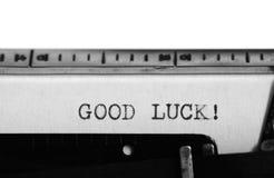 Typewriter. Typing text: good luck ! Stock Photo