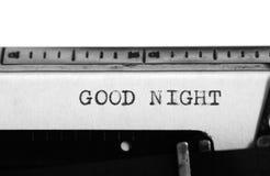 Typewriter. Typing text: good night Stock Images