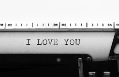 Typewriter. Typing text: i love you Stock Image