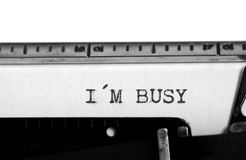 Typewriter. Typing text: i m busy Royalty Free Stock Image